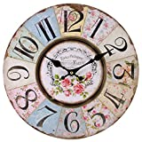 Something Different Shabby Chic Floral Patchwork Clock - Vintage Wall Clocks for Living Room, Bedroom and Kitchen - Multi-Coloured Cute Retro Style Clock Wall