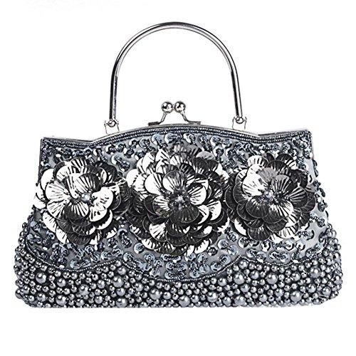 Retro Damen Abendtasche Blume Pailletten Perlen Abendessen Party Handtaschen Geldbörse 27 X 22.5 Cm gray