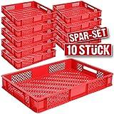 10x Eurobehälter durchbrochen / Stapelkorb, lebensmittelecht, LxBxH 600 x 400 x 90 mm, rot