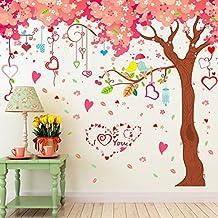 grande flor de cerezo rboles forma de corazn pared vinilo pvc murales vinilo casa papel casa