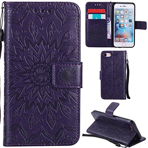 Ooboom® iPhone 5SE Hülle Sonnenblume Muster Flip PU Leder Schutzhülle Handy Tasche Case Cover Stand mit Kartenfach für iPhone 5SE - Rose Gold Lila