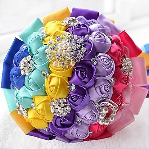 Colore arcobaleno fiori matrimonio Holding Bouquet con diamante perla spilla matrimonio fiori