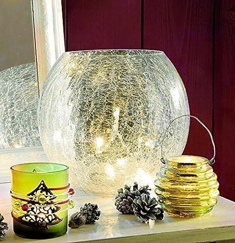 Deko Schale Weihnachtsbeleuchtung innen mit Lichterkette warmweiß - wunderschöne Glas Schale zur Deko aus massivem Crackle Glas - aus unserer neuen Sortiment Weihnachtsdeko beleuchtet für den Innen Bereich