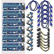 Midore - Extensor de PCI-E 1X a 16X, tarjeta adaptadora elevadora de extensión mejorada con USB 3.0,cable de extensión para extracción negro negro 6 Pcs