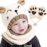 Gifort Warm Kids Knitted Hat Gorra Unisex Bufanda Set 3 Piezas con Blanco