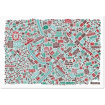 Zulumaps poster 40x60cm mappa della citt roma stampa for Stampe moderne per soggiorno