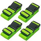 CSTOM Cinghie per Valigie Bagaglio Cinture 5x200cm, 4-Pack, Verde