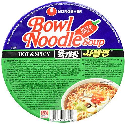 Nong Shim Instantessen Hot & Spicy Yukgaejang Sabalmyun Bowl Noodle Soup – Koreanische Ramen Nudelsuppe - schnelle Zubereitung – 12er Vorteilspack à 86g