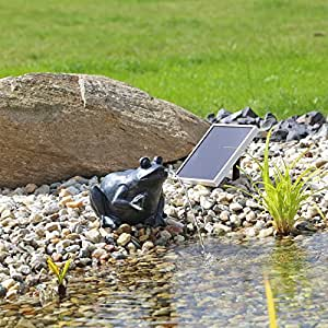 clgarden solar wasserspeier frosch nsp9 springbrunnen f r teich mit pumpe garten. Black Bedroom Furniture Sets. Home Design Ideas
