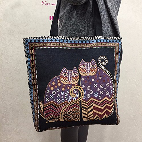womens-belle-ragazze-coppia-cat-stampa-canvas-handbag-holiday-travel-singola-spalla-bag