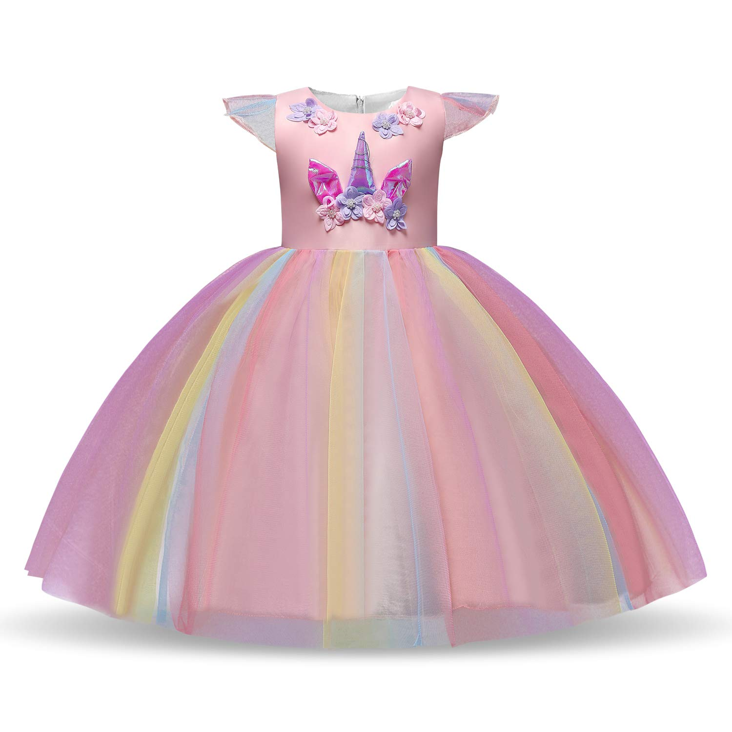 Girls-Unicorn-Dress-Princess-Dressing-Up-Costume-Outfit-Pink-Age-3-10-Years