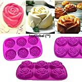 JoyGlobal Silicone 6-Cavity Rose Muffin Soap All Purpose Baking Mould, Multicolor