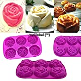 #7: Joyglobal Silicone 6 Cavity Rose Muffin Soap All Purpose Baking Mould (Soap Weight: Approx 85 Grams)