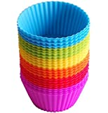 Leisial 24 pcs Reusable Silicone Muffin Cups Cake Pans Muffin, Random Colour (24pc-Ramdor color)