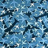 0,5m Jersey Flugzeuge blau 5% Elasthan 95% Baumwolle