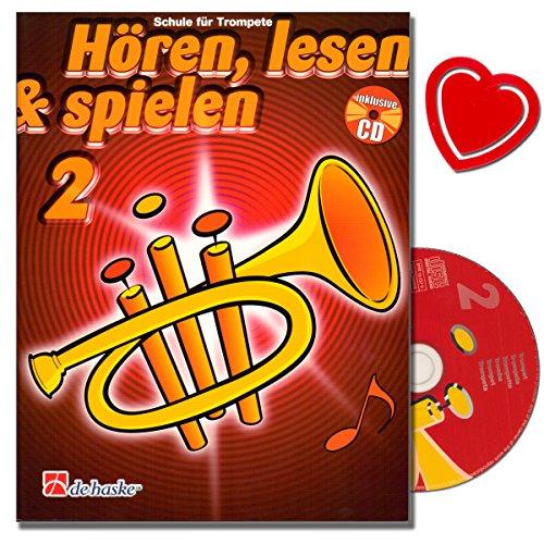 Hören, Lesen und Spielen 2 für Trompete - Trompeteschule mit CD von Jaap Kastelein - Instrumentenspezifische Übungen und Spieltechniken - mit herzförmiger Notenklammer