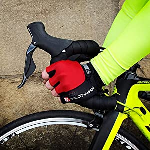 VeloChampion Guantes de Carreras para el Ciclismo de Verano (Black, Medium) Mitones con Palma con Pro Mitts