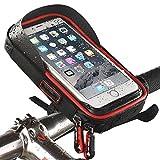 Evetin Handytasche Rahmentasche und Oberrohrtasche Wasserdicht Fahrradtasche Sensitive Touch-Screen für Alle Fahrradtypen 01 (Rot)