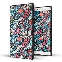 Huawei P8 Funda,Lizimandu 3D Patrón Protectiva Carcasa de Silicona Gel TPU estrecha Case Cover Para huawei p8(Hojas De Arce/Maple Leaves)