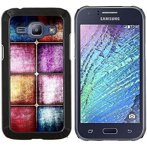 YiPhone /// Premium Slim Snap caso della copertura posteriore Armatura Shell - Piastrelle Vetro Piano viola pastello blu Struttura di pietra - Samsung Galaxy J1 J100