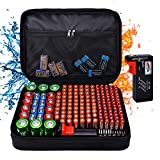 Battery Organiser Storage Box Holds 172 Batteries,Tamfile Fireproof and Waterproof Hard Holder Carring Case Bag with AA AAA C D 9V and Battery Tester BT-168(Batteries are Not Included)