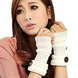 TININNA Winter Warmwer Buttons Gestrickte Fingerlose Armstulpen Strick Handschuhe Pulswärmer Handstulpen Stulpen für Damen Mädchen Weiß