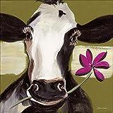 Artland Qualitätsbilder I Bild auf Leinwand Leinwandbilder Wandbilder 50 x 50 cm Tiere Haustiere Kuh Malerei Grün A7TZ Glückliche Kuh I