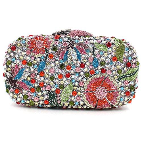 Damen Clutch Abendtasche Handtasche Geldbörse Glitzertasche Strass Kristall Cocktail Tasche mit wechselbare Trageketten von Santimon(18 Kolorit) Mehrfarbig