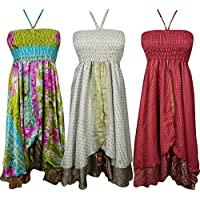 Womens Boho Hi Low Halter Dress 2 Layer Recycled Vintage Silk Sari Beach Dress S Lot Of 3 Set