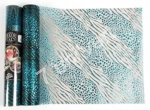 Chemin de table noël 30cm x 5 mètres leopard turquoise brillant