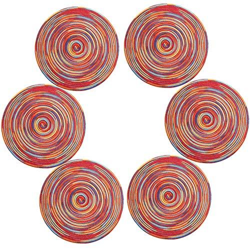 U'Artlines 6er Set Platzsets Hitzebeständigen Waschbaren Woven Vinyl Tischsets rutschfest Rund (rund,bunt-rot)