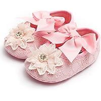 Voberry Scarpe da Bambina con Fiore di Bowknot Scarpe da Principessa in Pizzo per Bambina Scarpe Singole per Bambina…