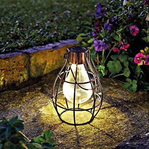 Homezone groß Solar kupfer Wandbehang Firefly Laterne mit LED Lichter Terrasse Sturm Vase Tisch Laterne oder Fenster Zentrum Stück Innen Außen - Vintage Garden Vase