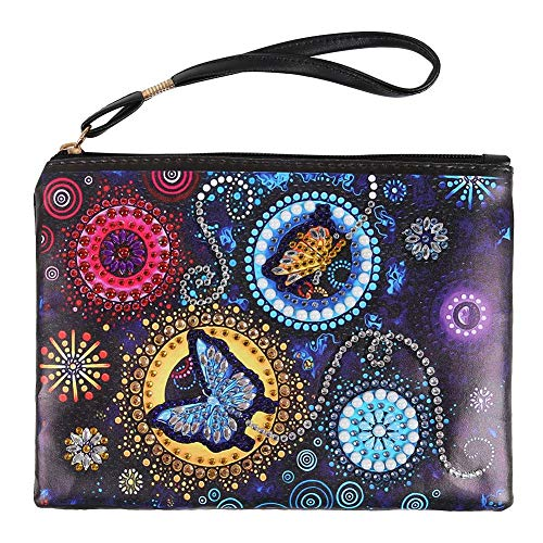 Prosperveil Womens Wristlet Purse Bag DIY Diamond Painting Leather Clutch Wallet with Strap and Zip Card Coin Holder Pouch Phone Bag Purse Travel Makeup Bag
