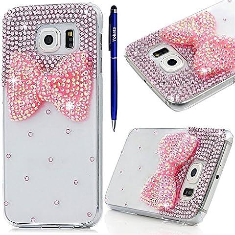 Samsung Galaxy S6 Hülle, Yokata Luxury Transparent mit Rosa Bowknot Motiv Case Glitzer Bling 3D Diamant Cover PC Hart Plastik Schutz Creative Schutzhülle + 1 X Stylus Pen