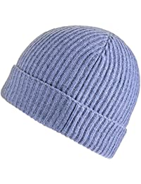 Denim Blue Rib Knit Cashmere Beanie