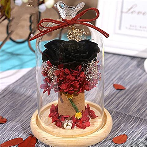 Colorful Living Glass Hood Ornaments/Dried Roses Ornaments/ Minimalist Lovers Bracelet-E