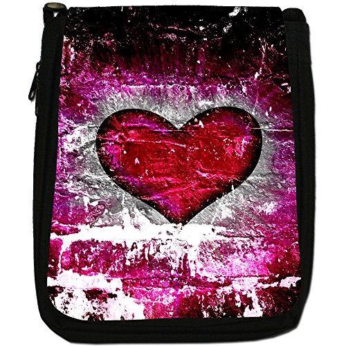 Cuore su muro di mattoni-Borsa a tracolla in tela, colore: nero, taglia: M Nero (Pink Grunge Heart)