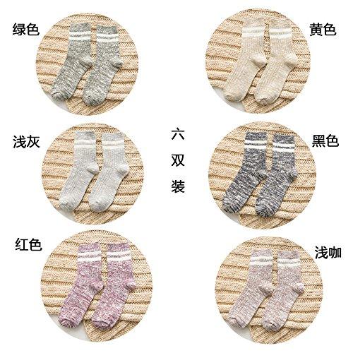 ZHFC-die koreanischen frauen socken baumwollstrumpfe mädchen - bergen in der nationalen welle socken 6 paar socken und ms.,f,sechs doppel - pack,1 paar pro