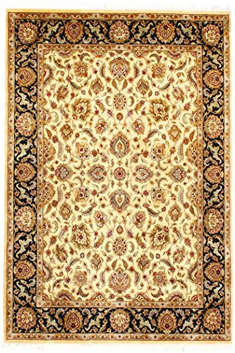 Arts of India indisch Handgefertigt Blumen Design Beige Wolle Handgeknüpft Jaipur/Orientalisch 9X12 Bereich Teppich -