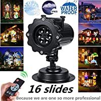 Christmas Party Holiday Projector Light LED Landscape 16 Slideshow Dynamic Lighting Show Highlights Spotlight Birthday Easter Wedding Decoration Multifunctional RF Remote Control