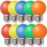 Set van 10 gekleurde gloeilampen LED 1W E27 G45 verlichting gloeilampen, LED gekleurde golf bal gloeilamp, gemengde kleuren r
