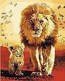 DIY Digital Ölgemälde Malen nach Zahlen Kit (Löwe Vater und seinem Sohn)