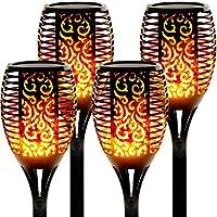 Luces Led Solares para Exteriores 4 Paquetes Llama Solar Luces Lámpara Antorcha Solares de Llamas Jardín Efecto de Llama Realista para Patio, Césped, Pasillo[Clase de eficiencia energética A++]