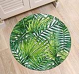 LB Monstera grün Blatt Rutschfeste waschmaschinenfest Runde Bereich Teppich Wohnzimmer Schlafzimmer Bad Küche Soft Teppich Boden Matte Home Dekor,100x100 cm Vergleich