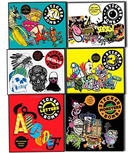 Sticker Bomb Studio Rarekwai 6 Books Collection Pack Set (Stickerbomb 2, Stickerbomb, Stickerbomb Monsters: Studio Rarekwai, Stickerbomb Skulls, Stickerbomb Letters: Studio Rarekwai, Stickerbomb XL)