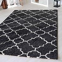 Moderner Teppich schwarz weiß Oslo 160x230 Geometrische Muster Wohnzimmer Modern
