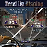 5.8 inch Car HUD Head Up Display Speedometer with Switchable OBD and GPS Dual Mode (S7 HUD)