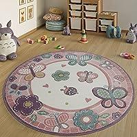 Paco Home Kinderteppich Rund XXL 180 cm Ø 160 cm Ø 120 cm Ø Blumen Schmetterling Rosa, Grösse:Ø 160 cm Rund