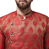 Sojanya (Since 1958) Men's Jacquard Silk Red Kurta & Off-White Churidar Pyjama SET, Size: 36